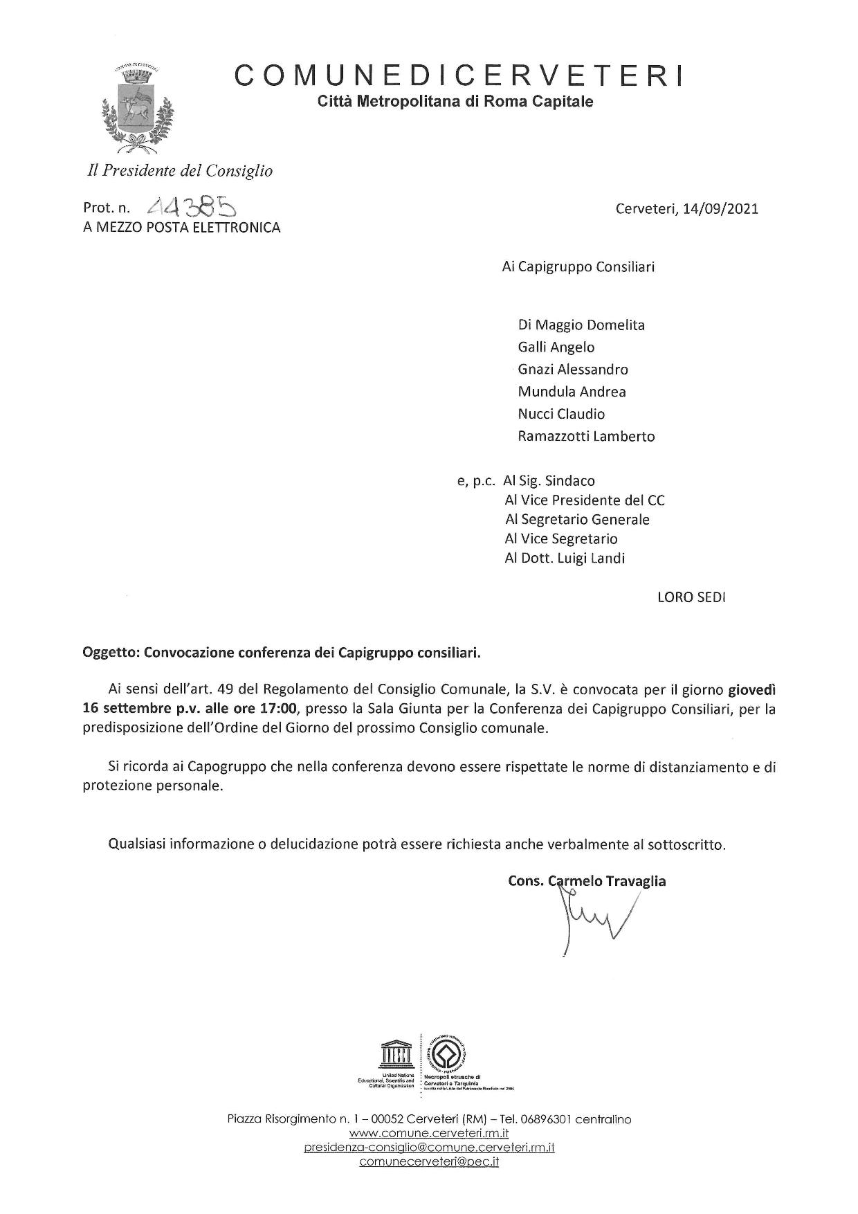 Convocazione Conferenza Capigruppo consiliari del 16.09.2021