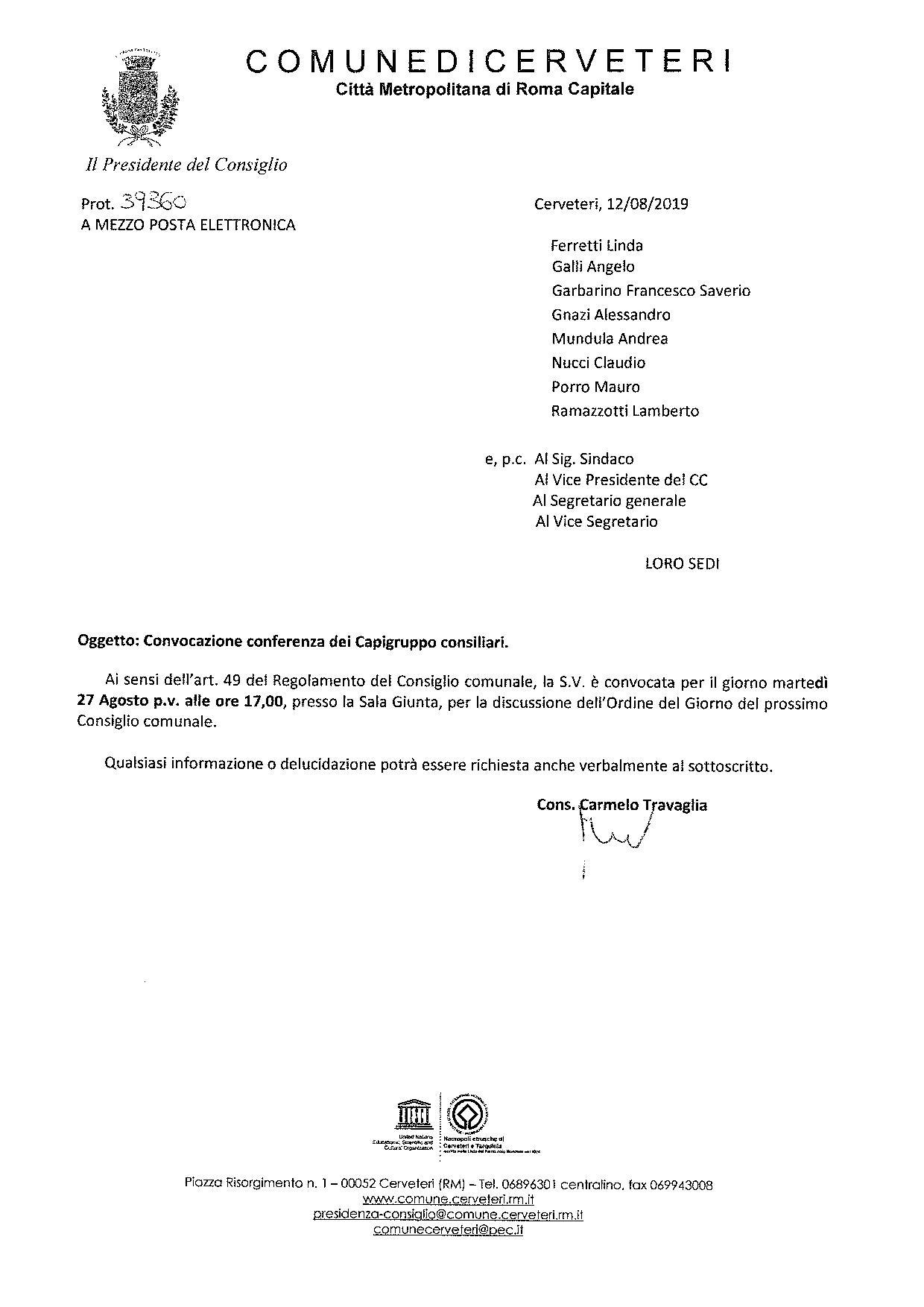 Convocazione conferenza Capigruppo consiliari del 27.08.2019