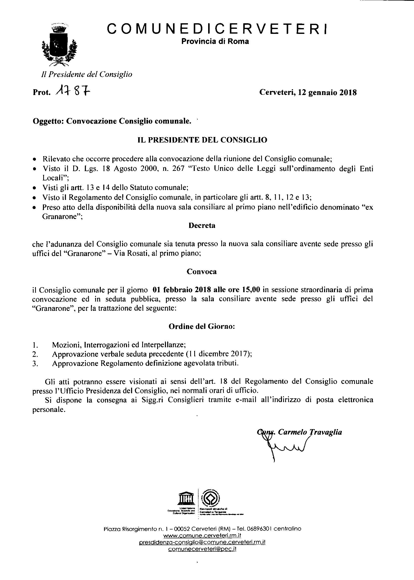 Convocazione Consiglio Comunale del 01/02/2018