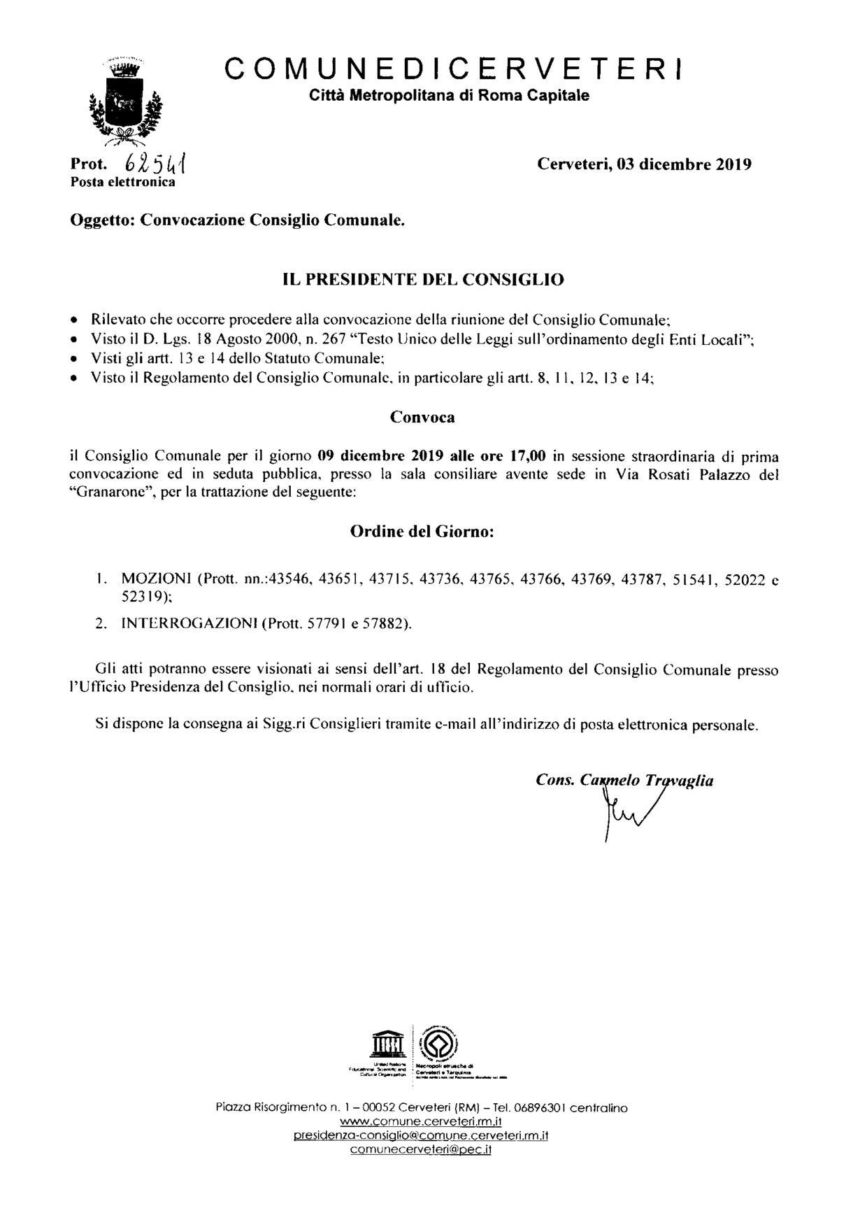 Convocazione Consiglio Comunale del 09/12/2019