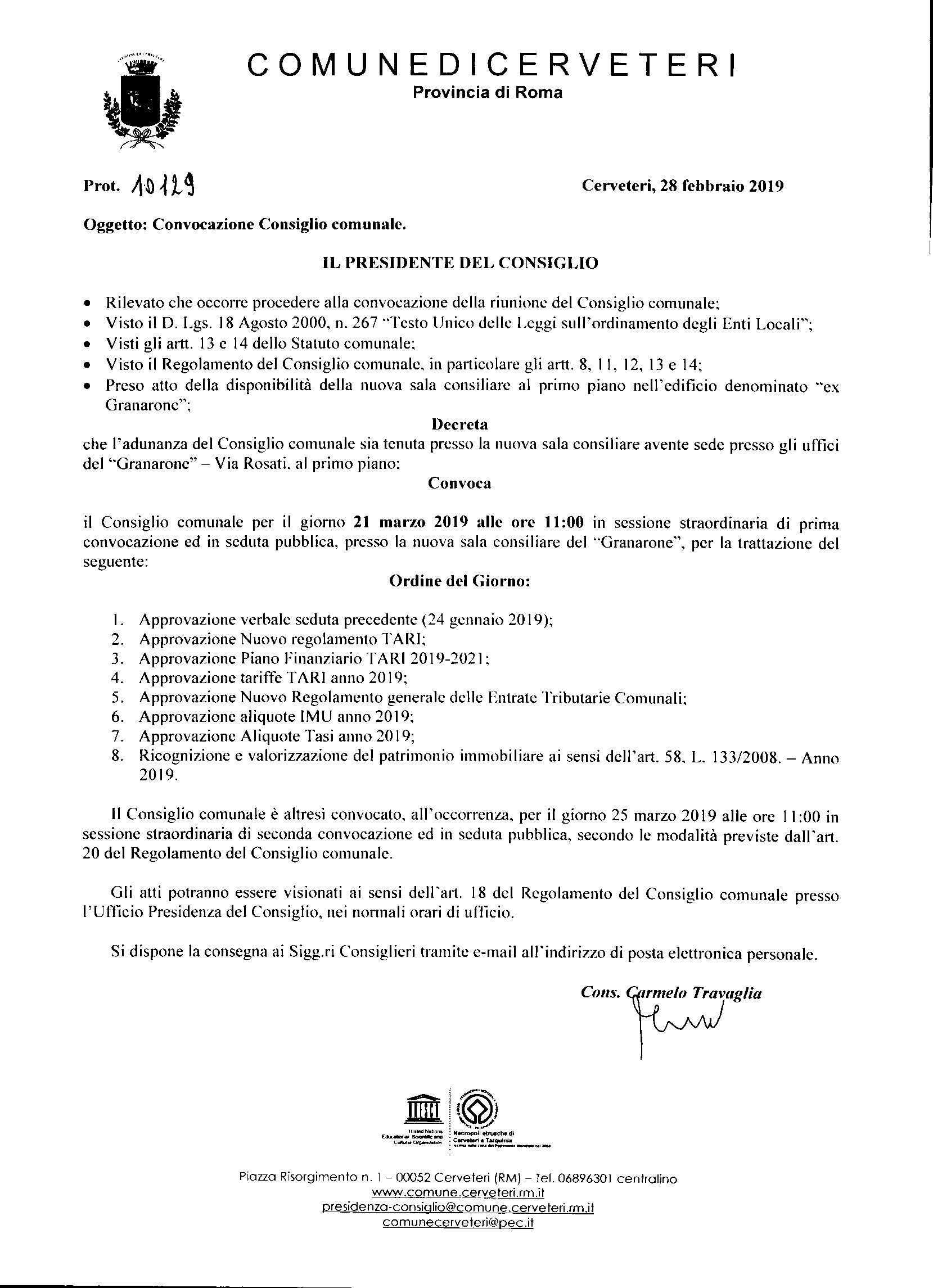 Convocazione Consiglio Comunale del 21/03/2019