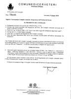 Convocazione Consiglio Comunale del 21/06/2018 - Integrazione Ordine del Giorno