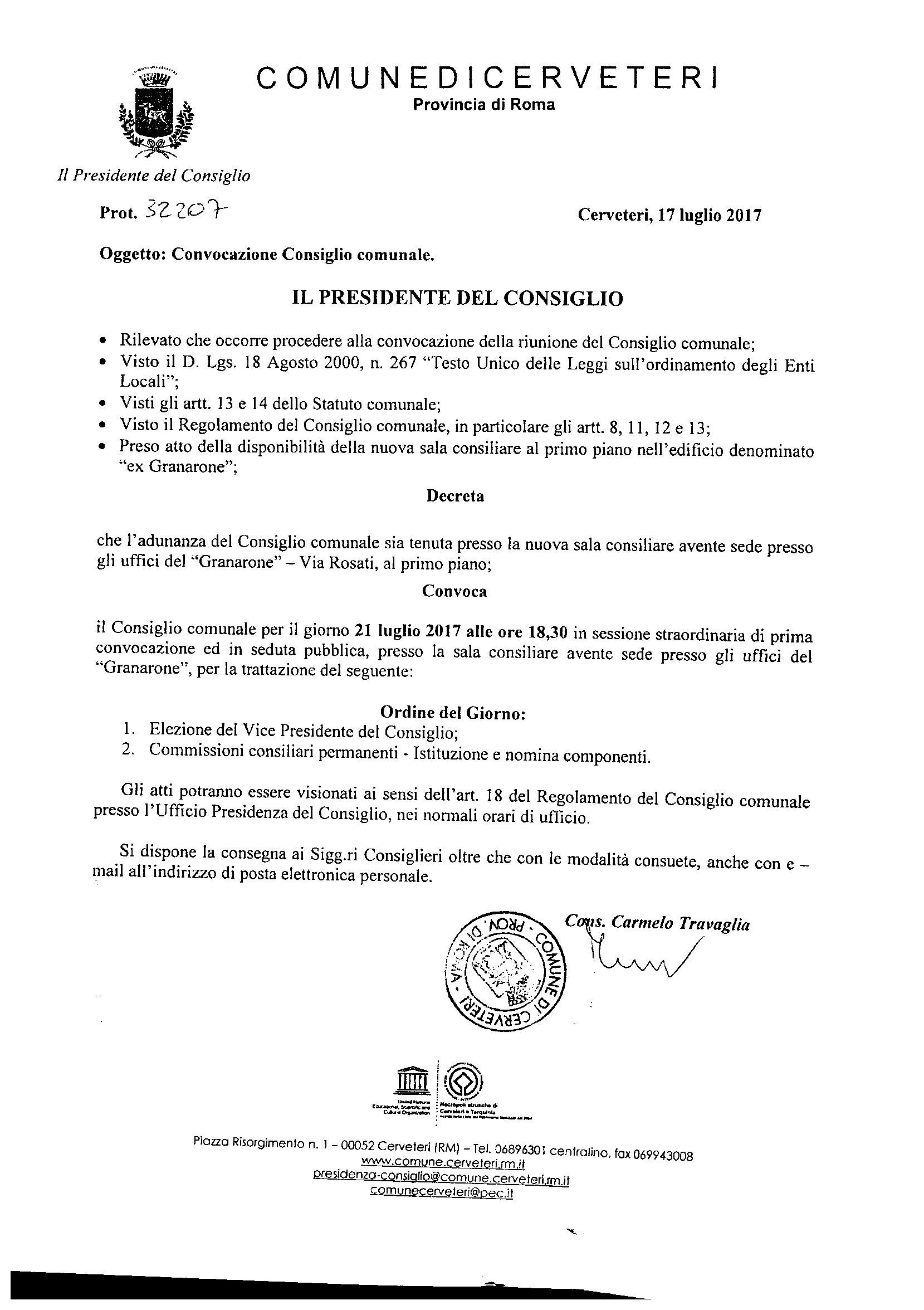 Convocazione Consiglio Comunale del 21/07/2017