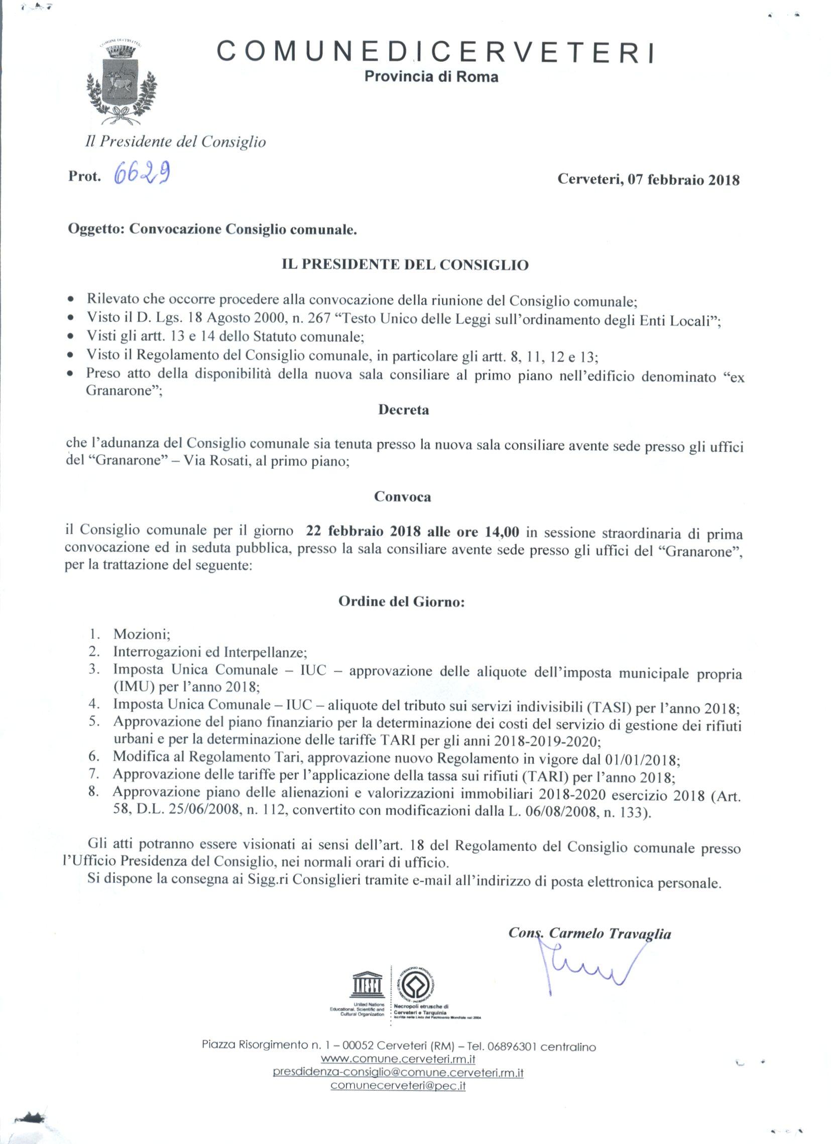 Convocazione Consiglio Comunale del 22/02/2018