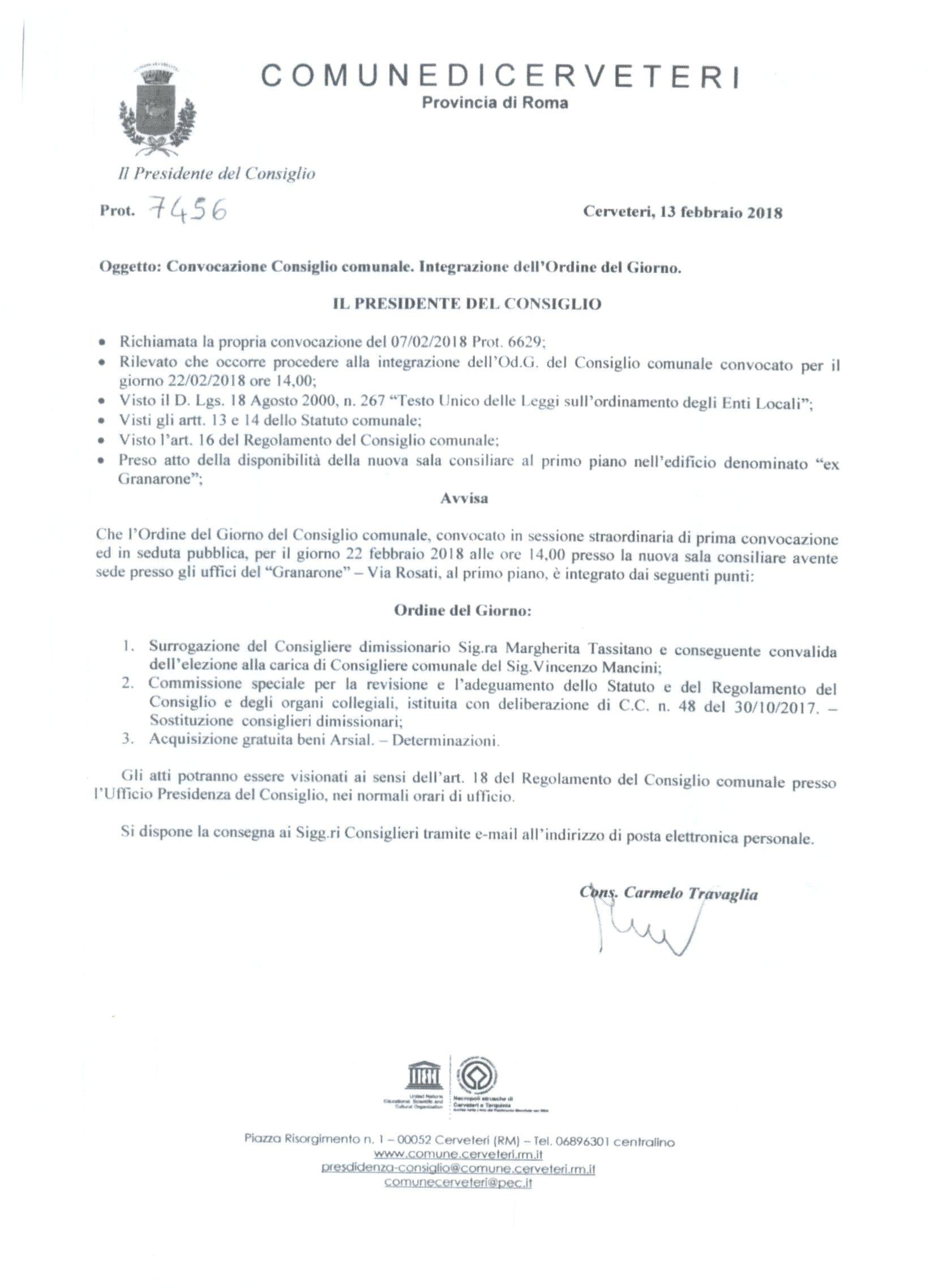 Convocazione Consiglio Comunale del 22/02/2018 - Integrazione Ordine del Giorno