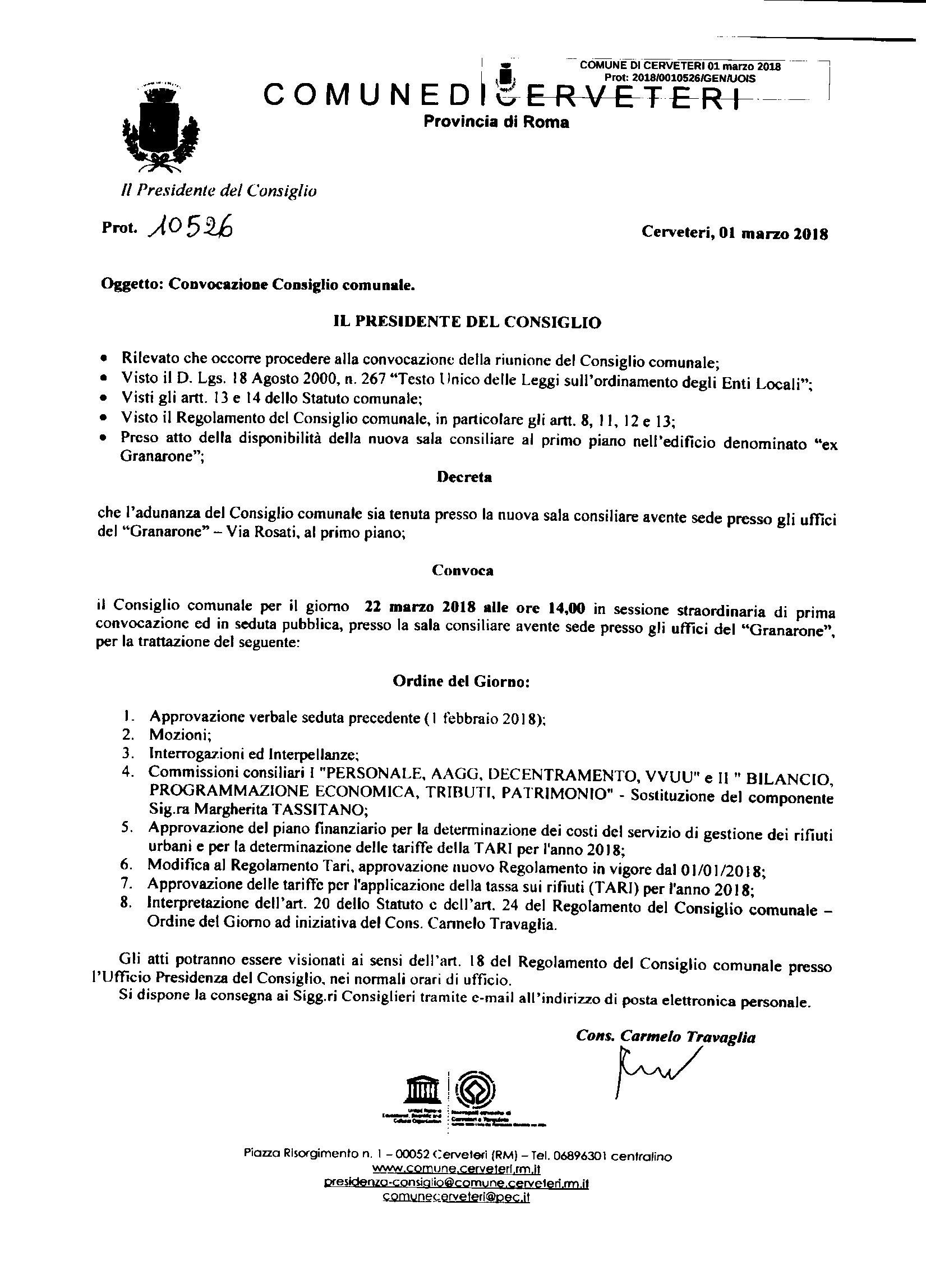 Convocazione Consiglio Comunale del 22/03/2018