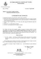 Convocazione Consiglio Comunale del 26/04/2018 - Integrazione Ordine del giorno