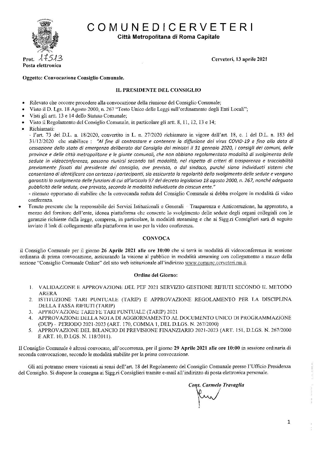 Convocazione Consiglio Comunale del  26/04/2021