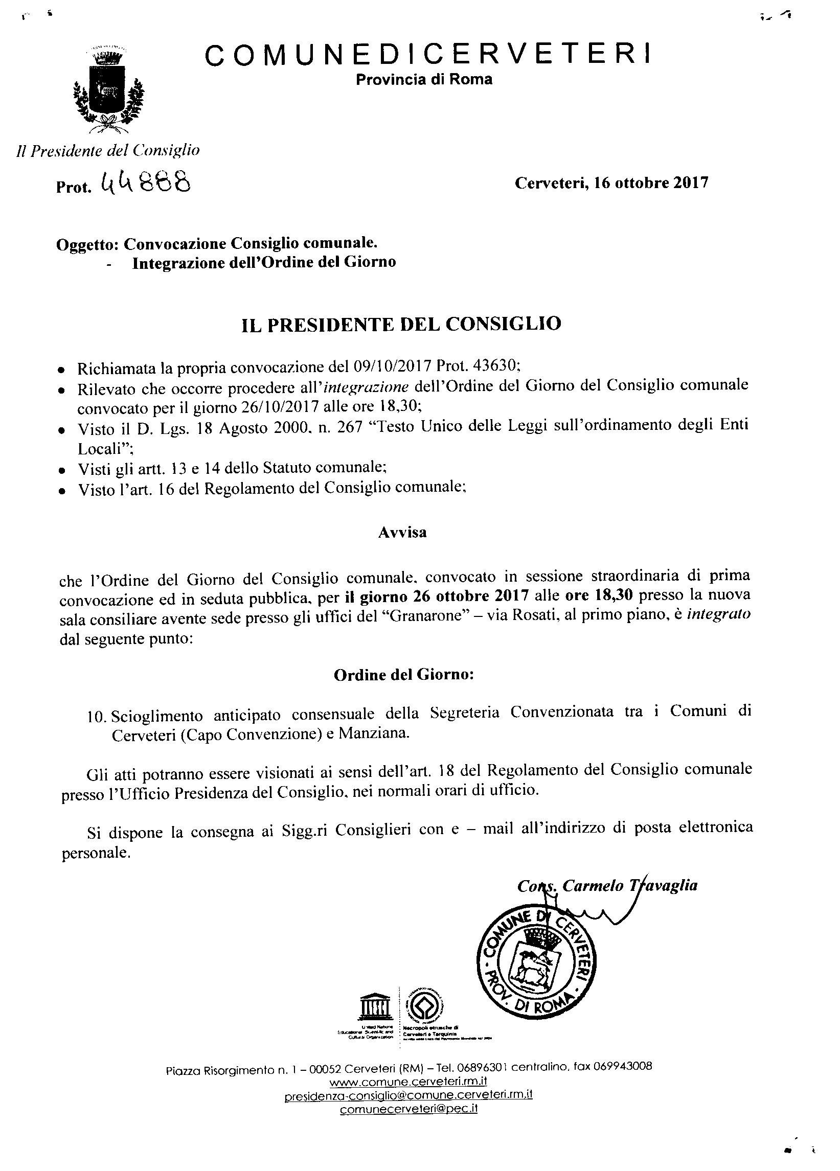 Convocazione Consiglio Comunale del 26/10//2017 - Integrazione Ordine del Giorno