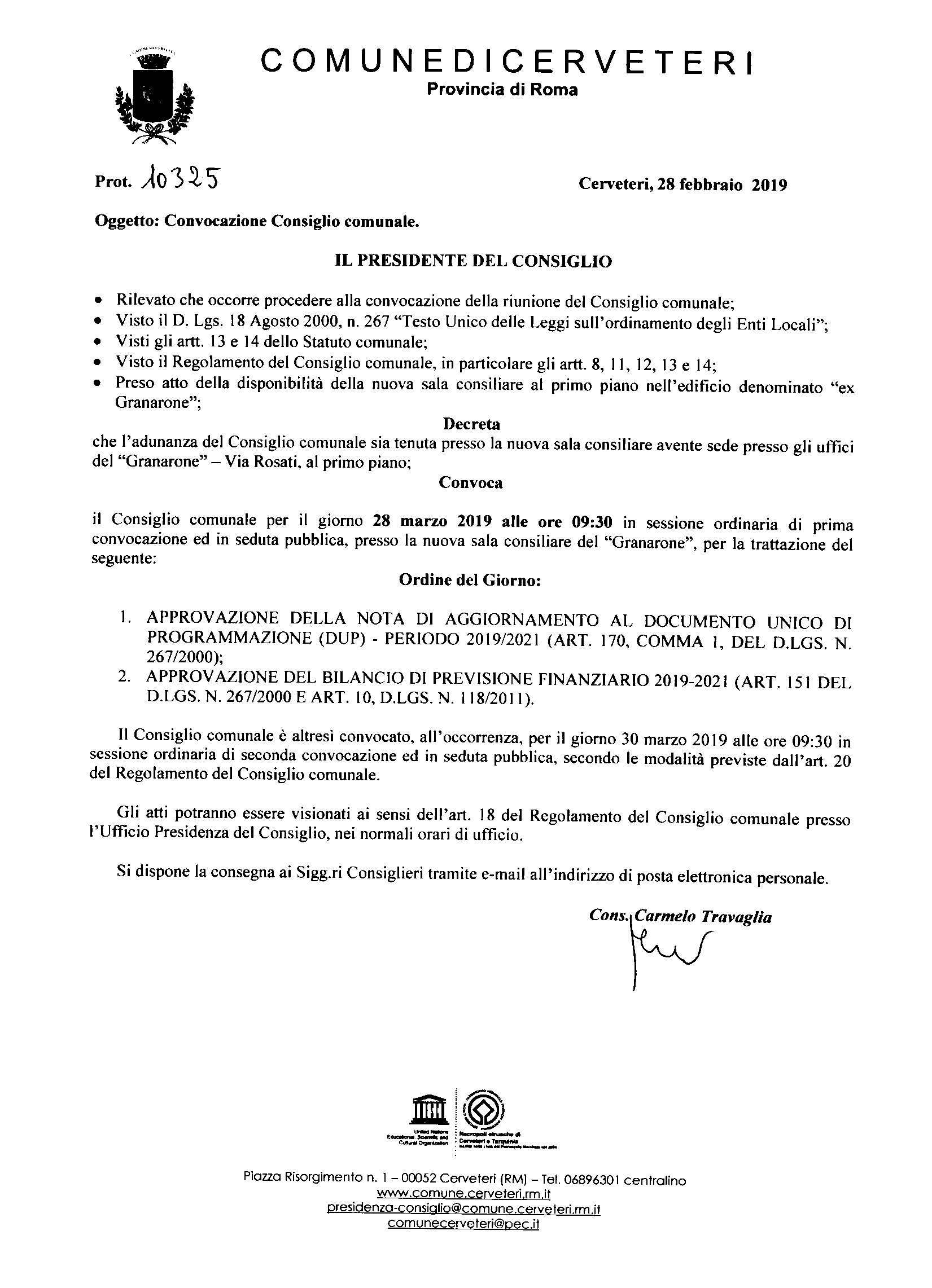 Convocazione Consiglio Comunale del 28/03/2019