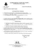 Convocazione Consiglio Comunale del 28/11/2019