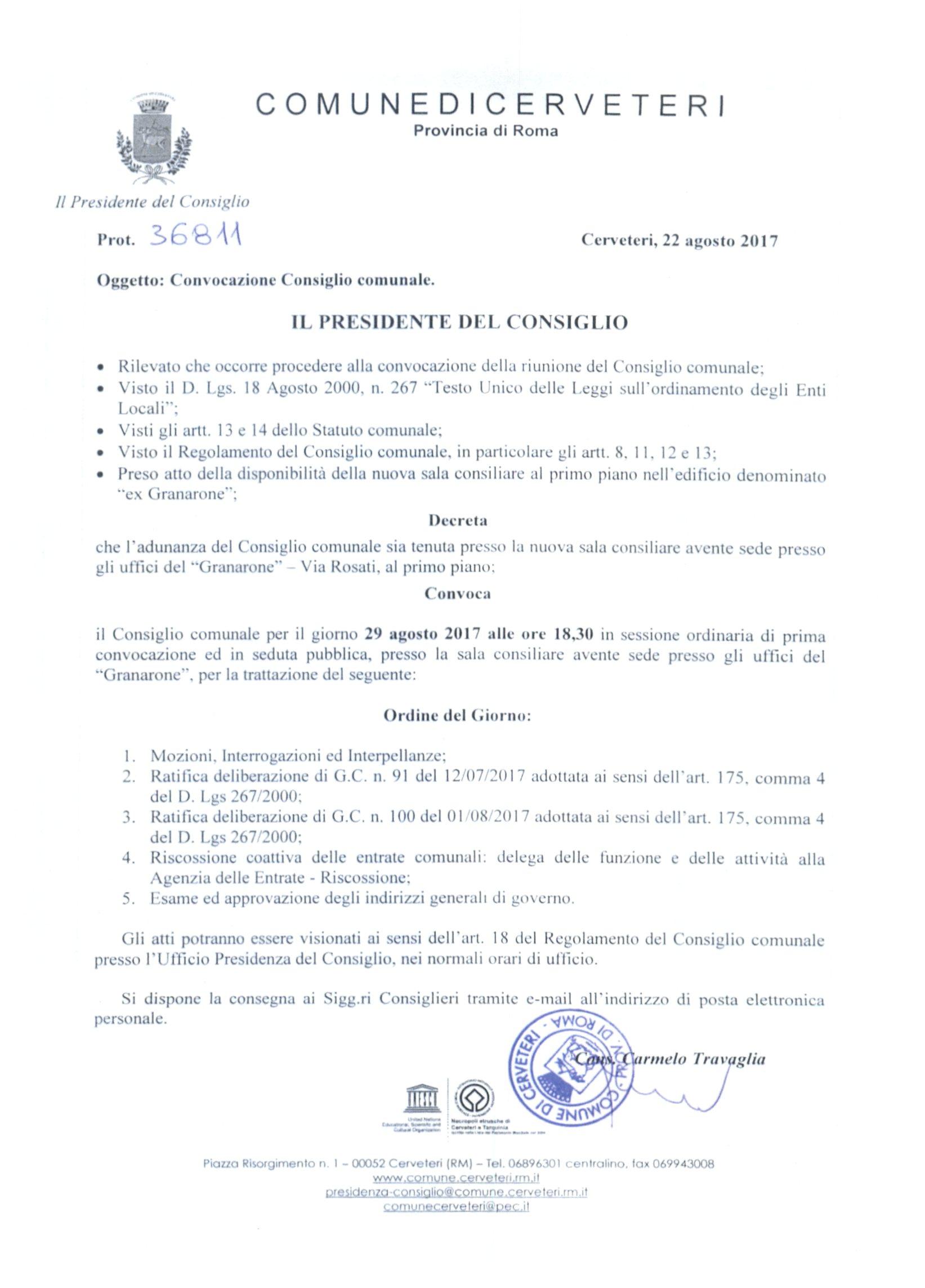 Convocazione Consiglio Comunale del 29/08/2017