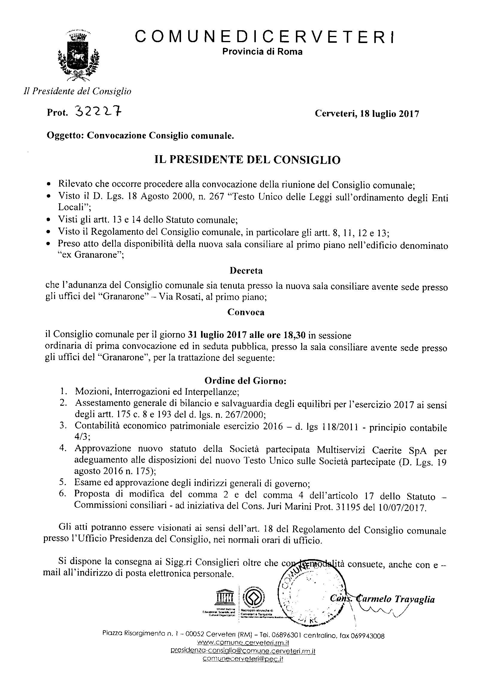 Convocazione Consiglio Comunale del 31/07/2017