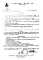 Convocazione del Consiglio Comunale del 06/07/2017