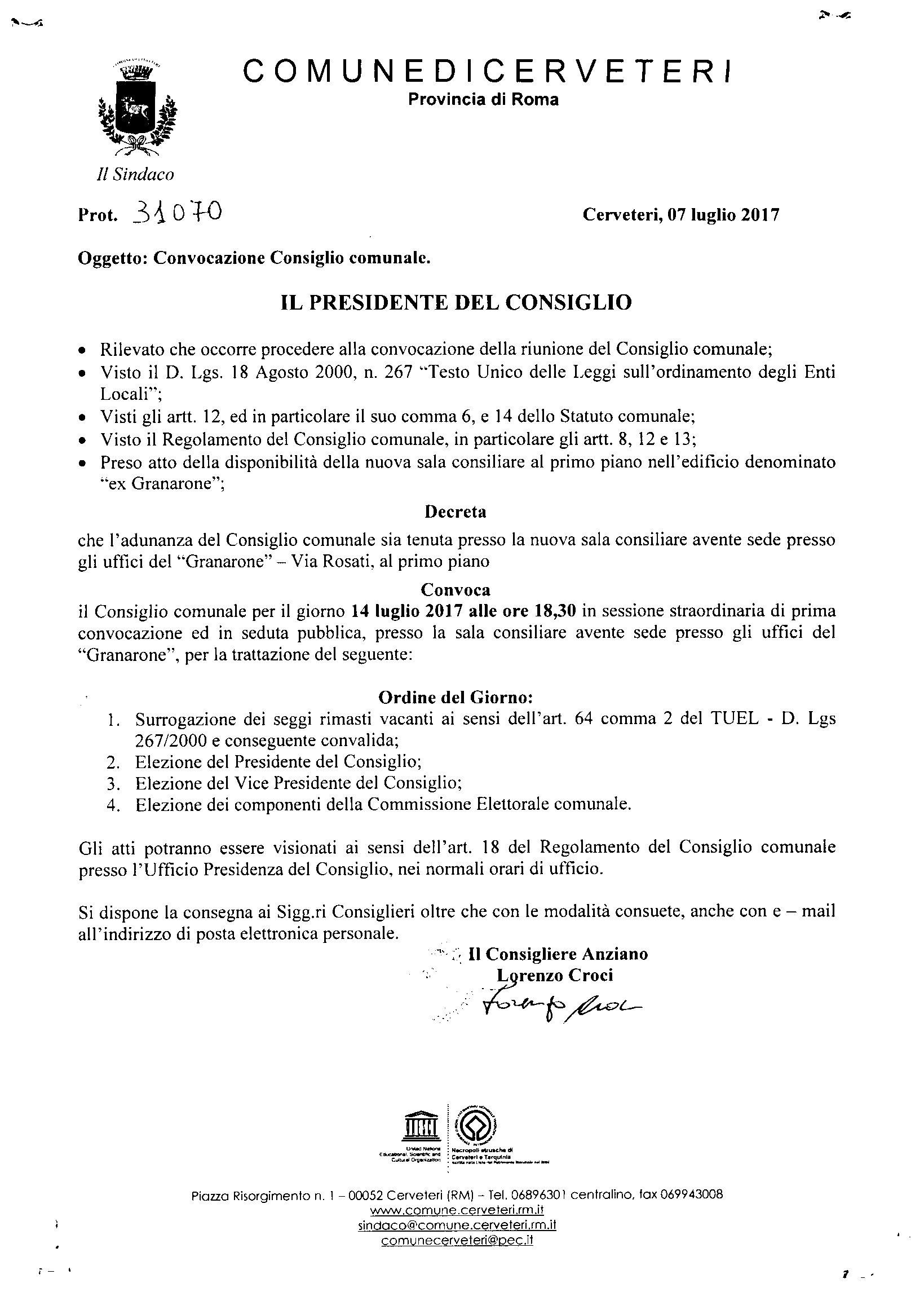 Convocazione del Consiglio Comunale del 14/07/2017