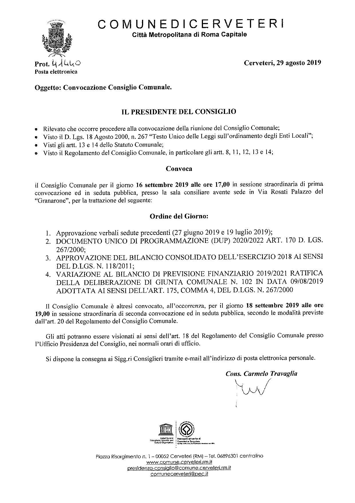 Convocazione del Consiglio Comunale del 16/09/2019