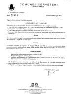 Convocazione Consiglio Comunale del 31/05/2018