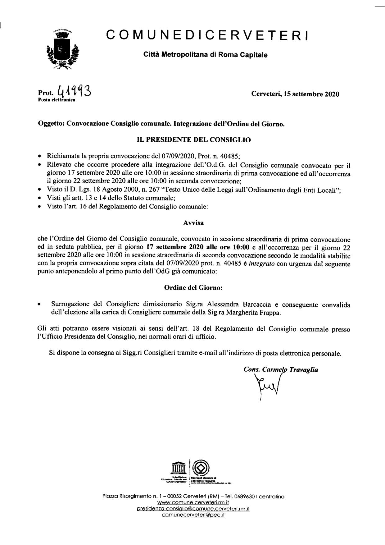Integrazione Ordine del Giorno Consiglio Comunale del 17/09/2020
