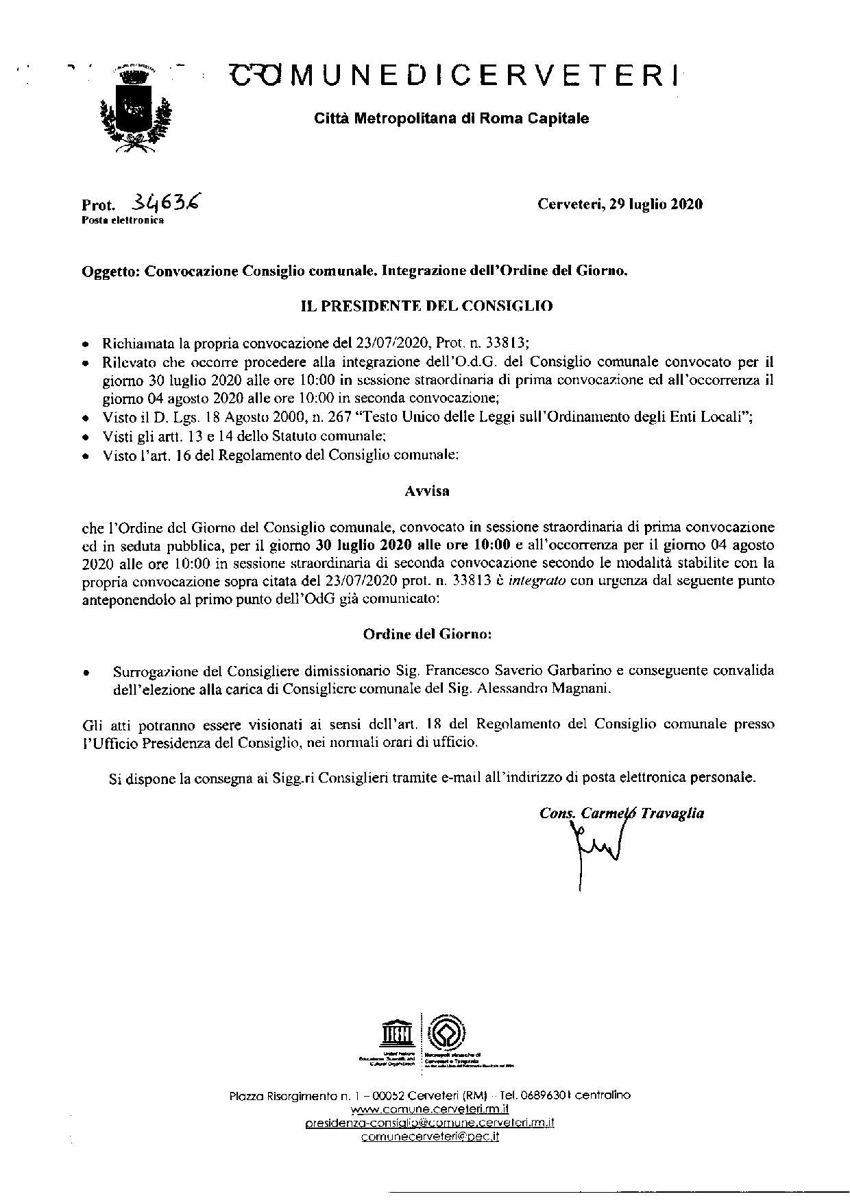 Integrazione Ordine del Giorno Consiglio Comunale del 30/07/2020