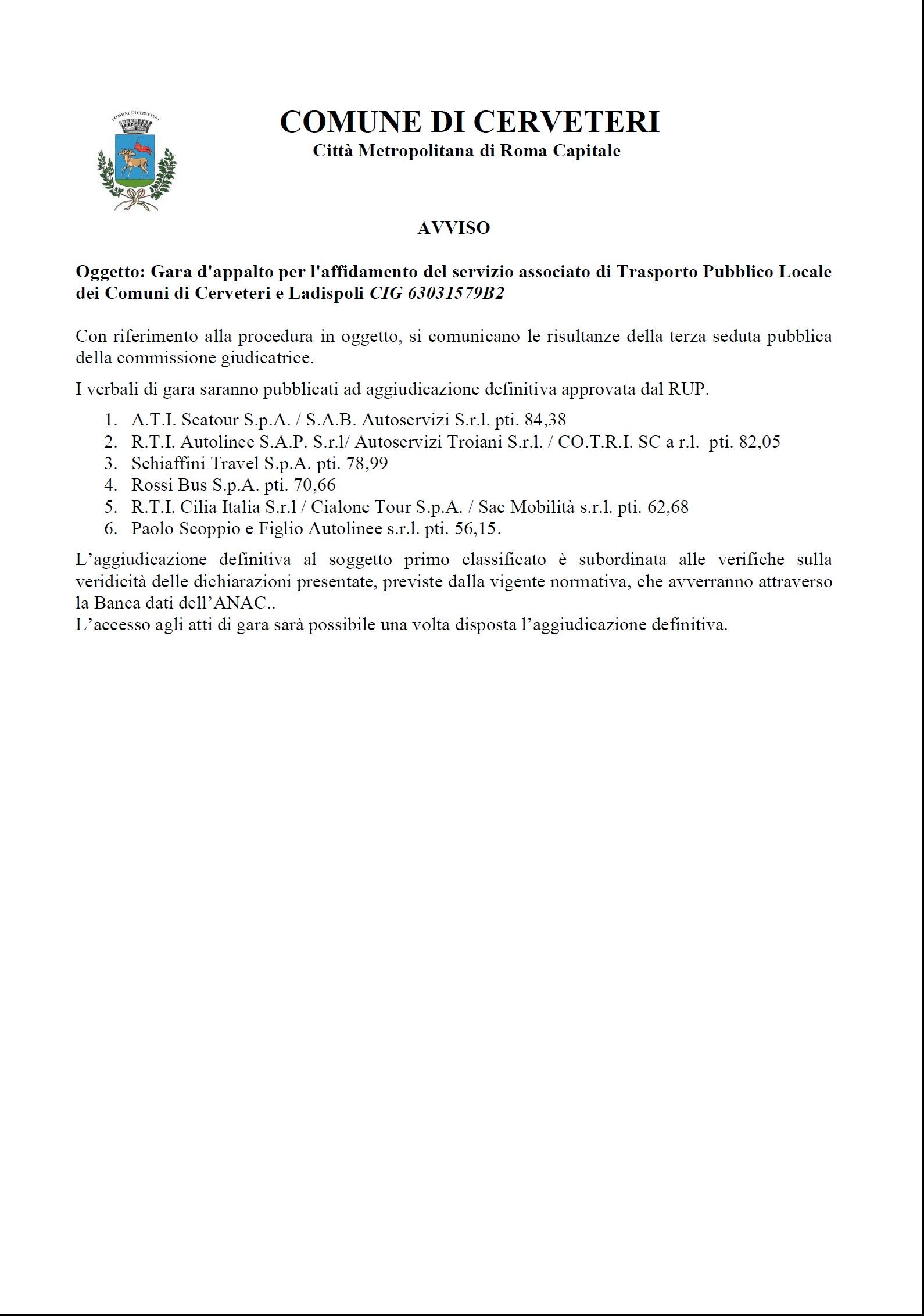 AVVISO aggiudicazione gara trasporto pubblico locale Ladispoli-Cerveteri