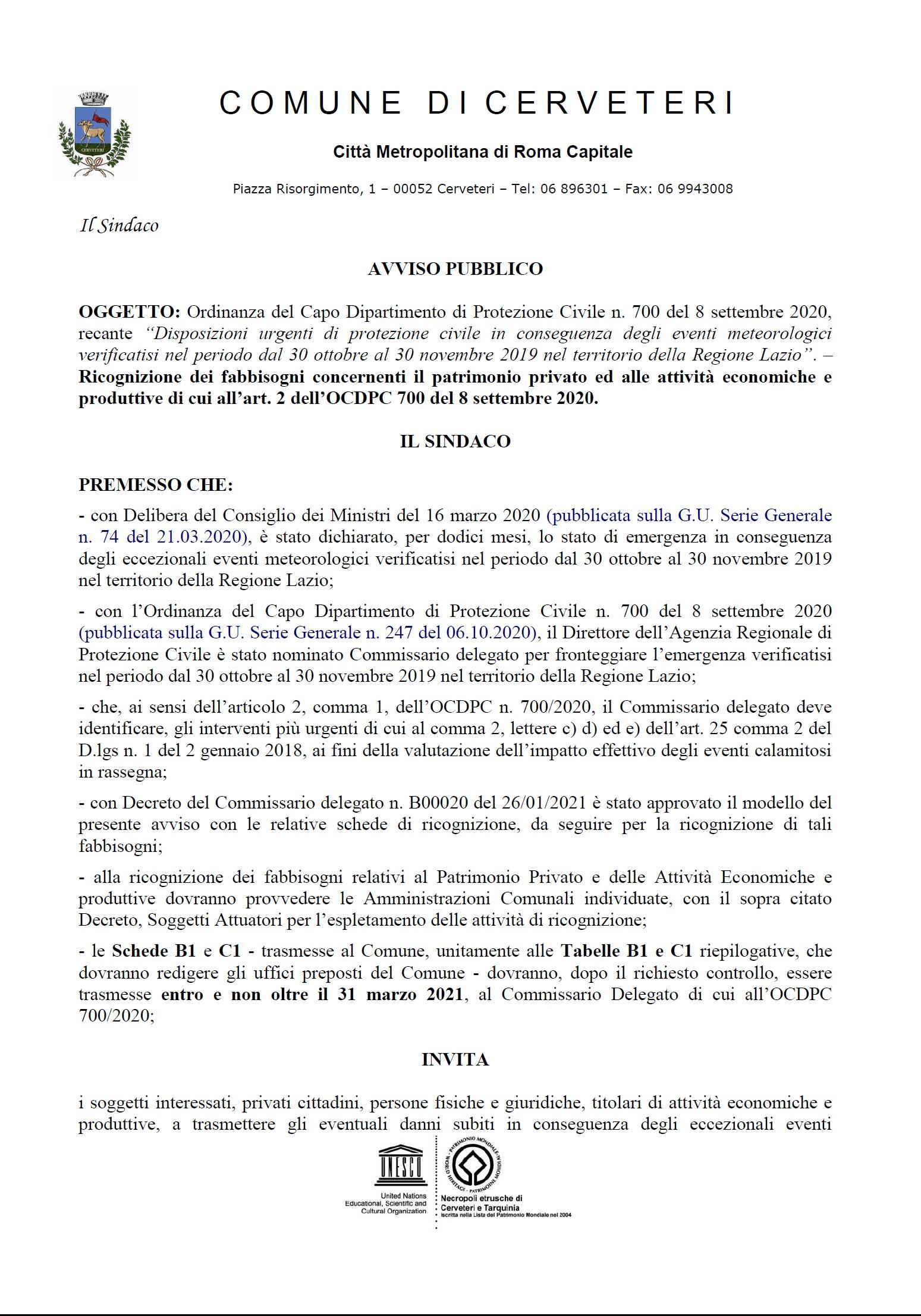 """""""Disposizioni urgenti di protezione civile in conseguenza degli eventi meteorologici verificatisi nel periodo dal 30 ottobre al 30 novembre 2019 nel territorio della Regione Lazio""""."""