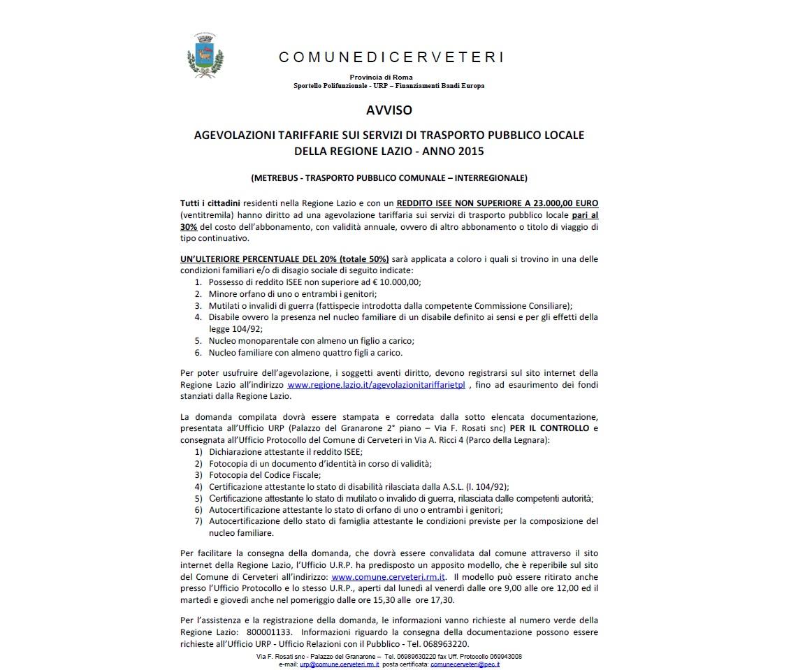 Agevolazioni tariffarie sui Servizi di Trasporto pubblico locale della Regione Lazio - Anno 2015
