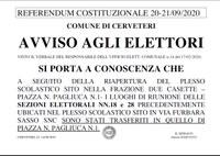 AVVISO AGLI ELETTORI - VARIAZIONE SEDE DI VOTO SEZIONE N. 18 E N. 28