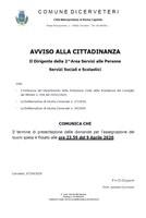 AVVISO ALLA CITTADINANZA - Termine di presentazione delle domande per l'assegnazione dei buoni spesa