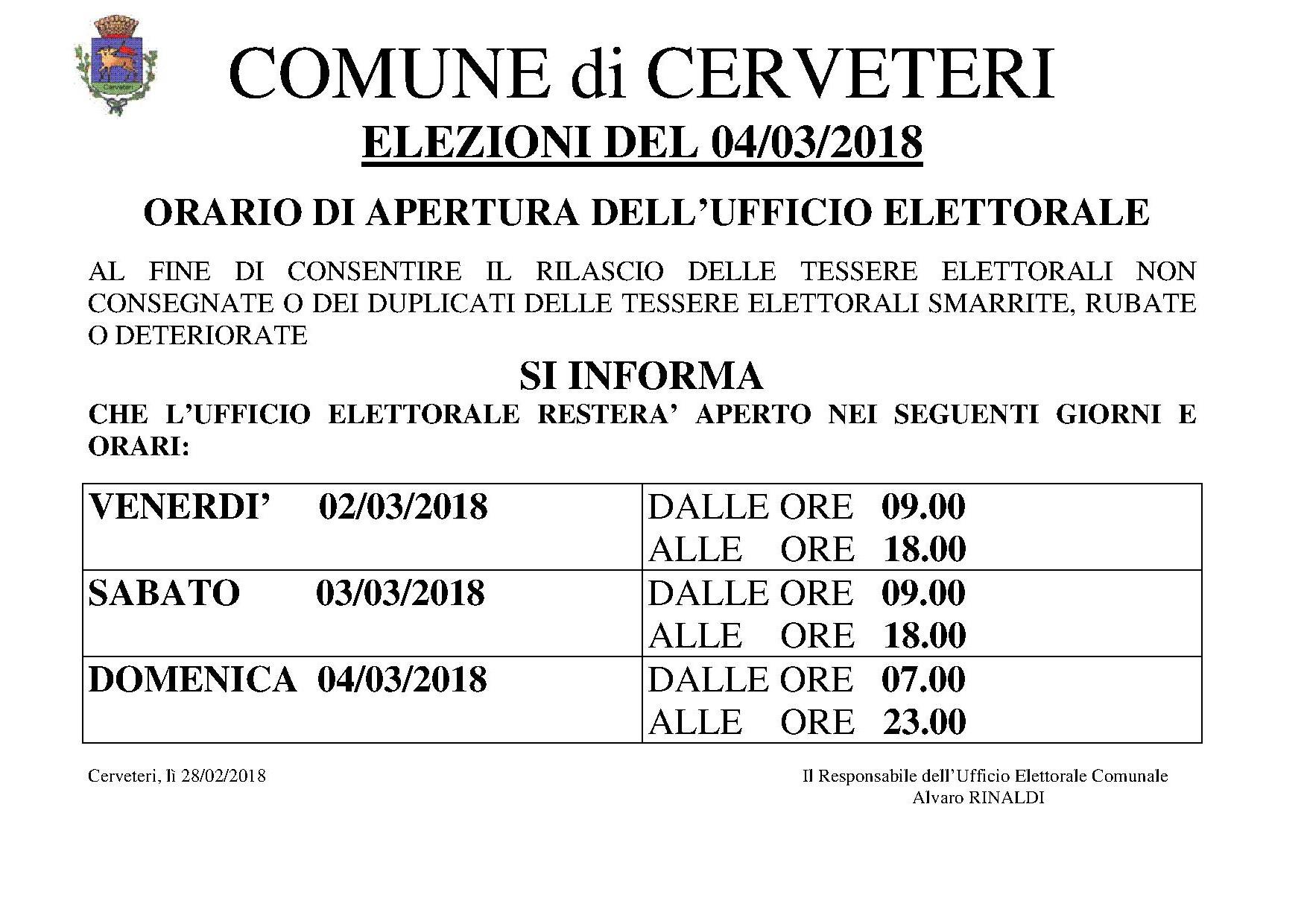 AVVISO APERTURA UFFICIO ELETTORALE - ELEZIONI 04/03/2018