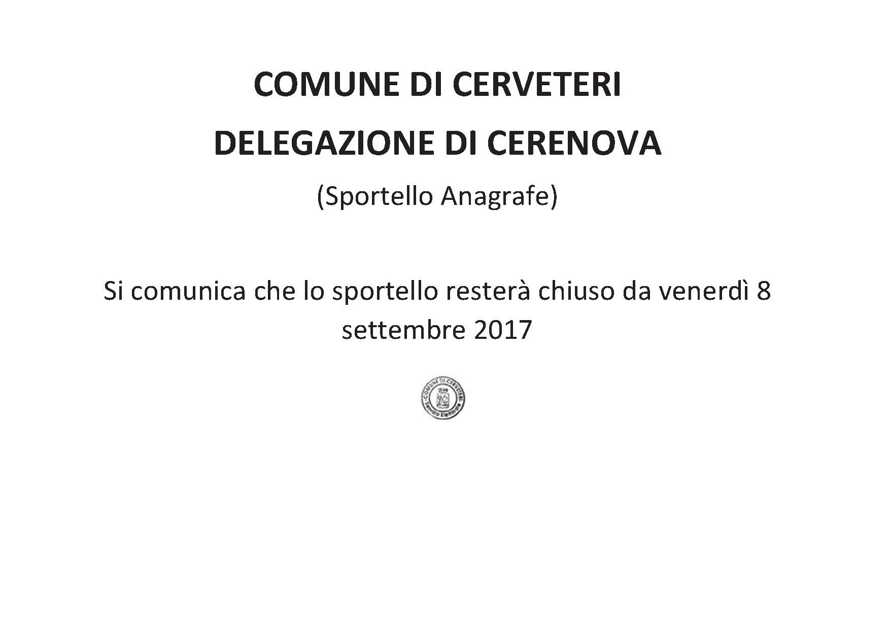 AVVISO DELEGAZIONE DI CERENOVA