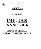 Avviso Aliquote IMU e TASI 2016