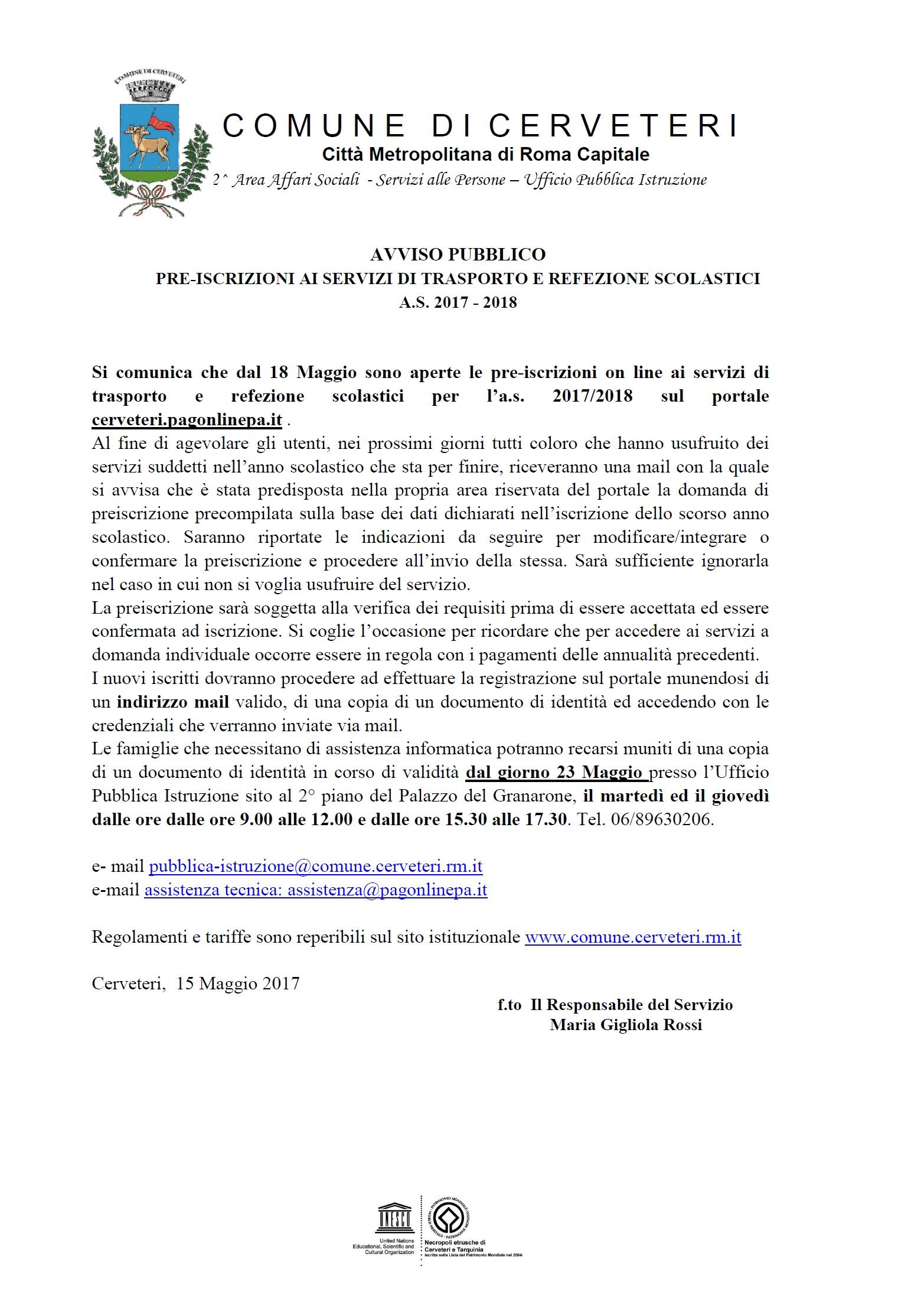 AVVISO PUBBLICO PRE-ISCRIZIONI AI SERVIZI DI TRASPORTO E REFEZIONE SCOLASTICI A.S. 2017 - 2018