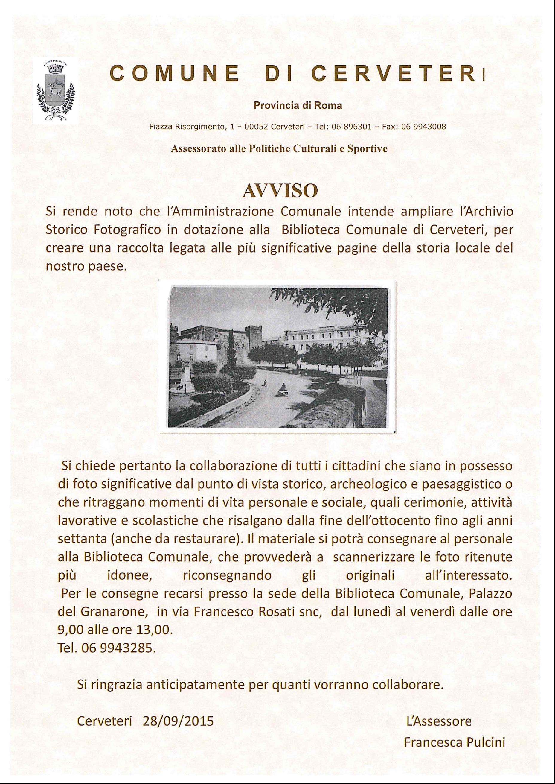 AVVISO reperimento di foto storiche per l'ampliamento dell'archivio storico fotografico comunale.