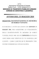 AVVISO SPOSTAMENTO CAPOLINEA TRASPORTO PUBBLICO LOCALE
