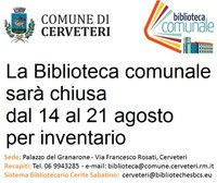 BIBLIOTECA COMUNALE : chiusa dal 14 al 21 agosto per inventario