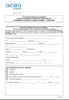 CAMPO DI MARE - CENSIMENTO - AUTOCERTIFICAZIONE ALLACCIO ACEA ATO 2