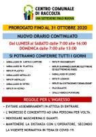 CENTRO COMUNALE DI RACCOLTA -  AVVISO IMPORTANTE