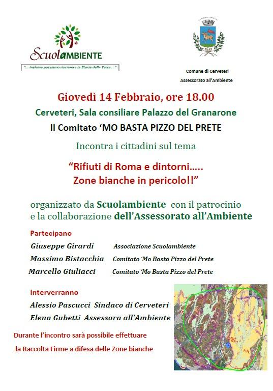 Cerveteri, Amministrazione, Scuolambiente e 'Mo basta Pizzo del Prete contro i rifiuti di Roma in Provincia