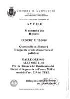 CHIUSURA ANTICIPATA SERVIZI DEMOGRAFICI 31/12/2018