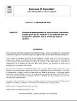 CHIUSURA PLESSO SCOLASTICO I.C. GIOVANNI CENA DAL GIORNO 17 SETTEMBRE 2020 AL TERMINE DEI LAVORI DI RIPRISTINO