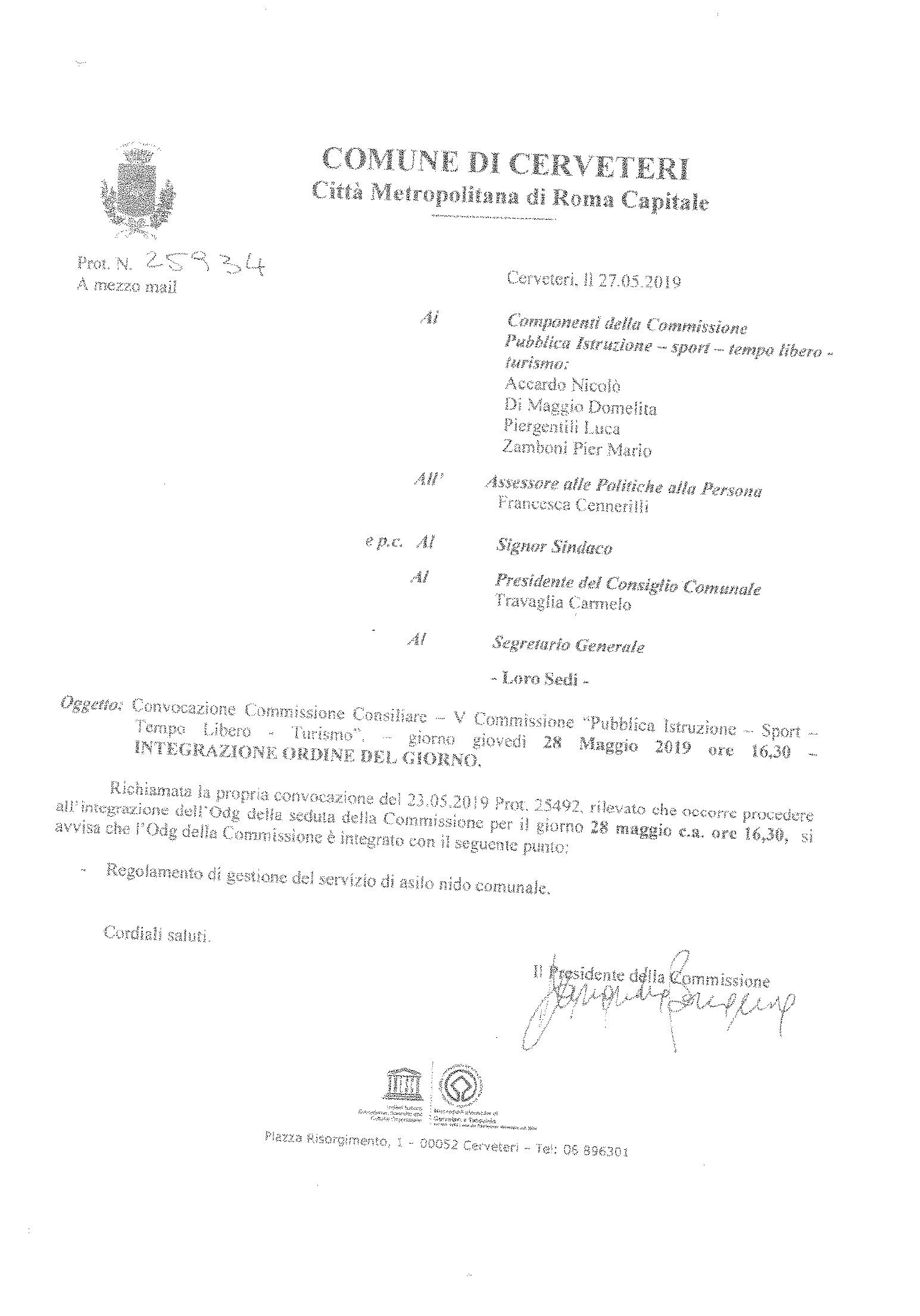 """CONVOCAZIONE Commissione Consiliare """" Pubblica Istruzione - Sport - Tempo Libero - Cultura"""": INTEGRAZIONE ORDINE DEL GIORNO"""