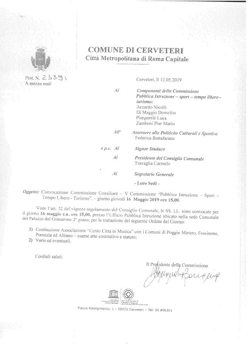 """CONVOCAZIONE Commissione Consiliare """" Pubblica Istruzione - Sport - Tempo Libero - Cultura"""""""