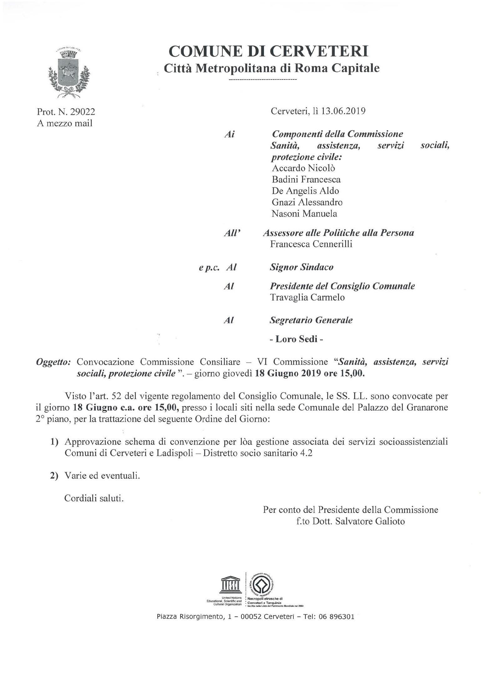 """CONVOCAZIONE Commissione Consiliare - VI Commissione  """" Sanità, Assistenza, Servizi Sociali, Protezione Civile"""""""