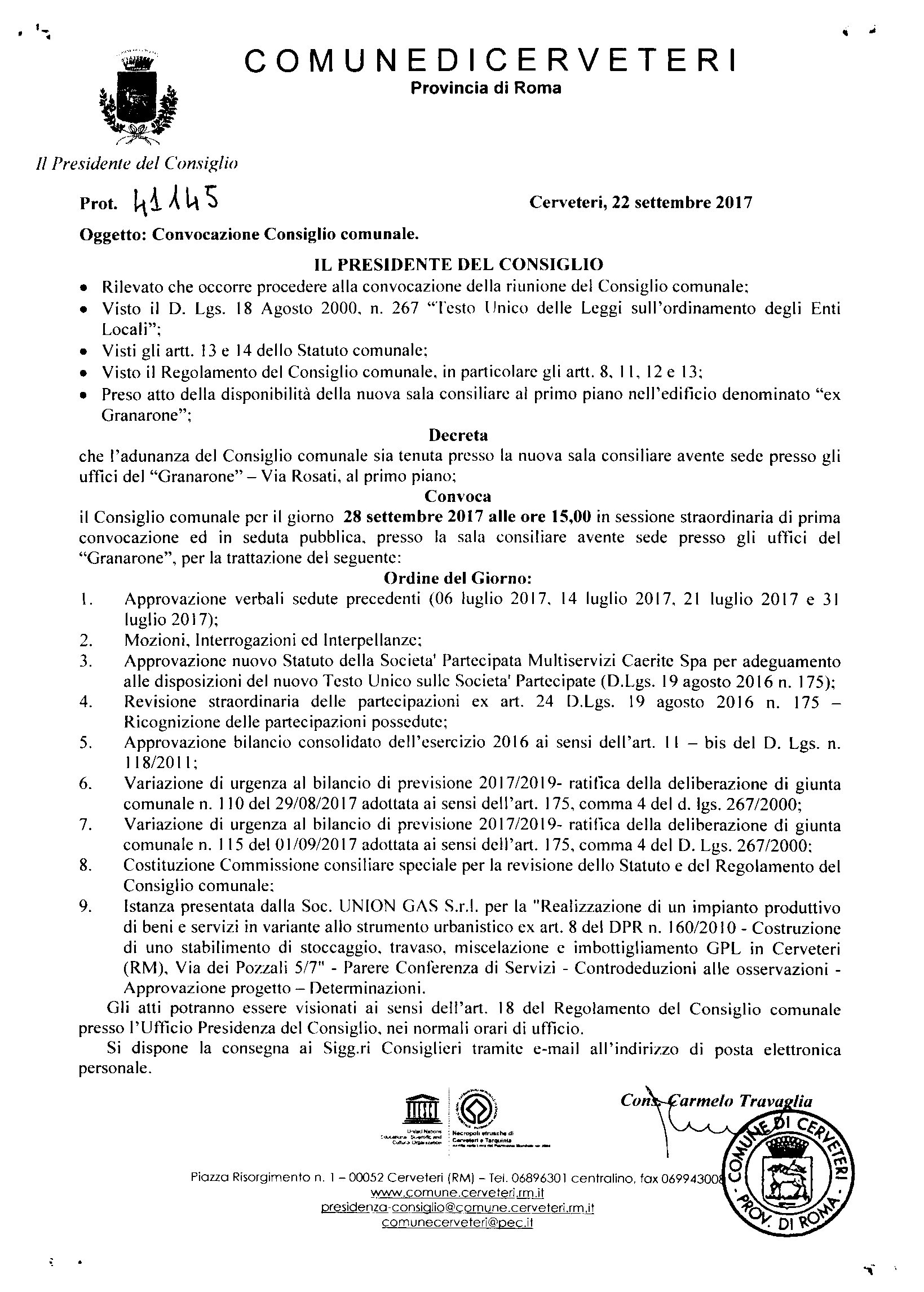 Convocazione Consiglio Comunale del 28/09/2017