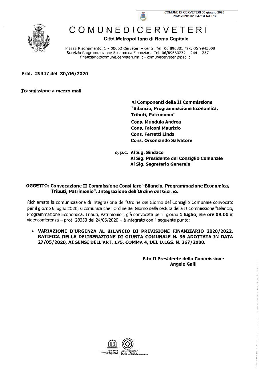 """Convocazione II Commissione Consiliare """"Bilancio, Programmazione Economica, Tributi, Patrimonio"""" 01/07/2020. Integrazione Ordine del Giorno."""
