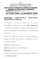 CORONAVIRUS - RIDUZIONE TRASPORTO PUBBLICO