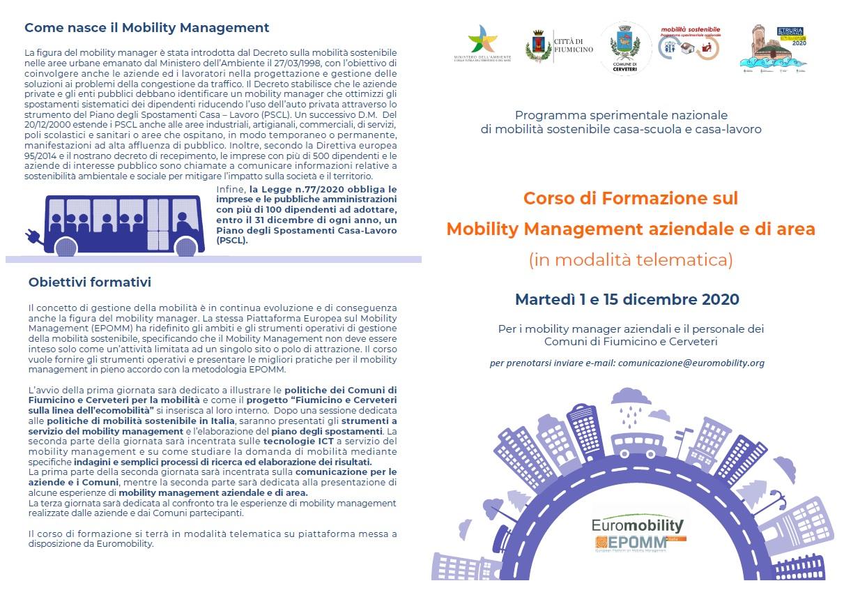 Corso di Formazione sul Mobility Management aziendale e di area (in modalità telematica)