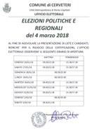 Elezioni Politiche e Regionali del 04 marzo 2018:  ORARIO UFFICIO ELETTORALE