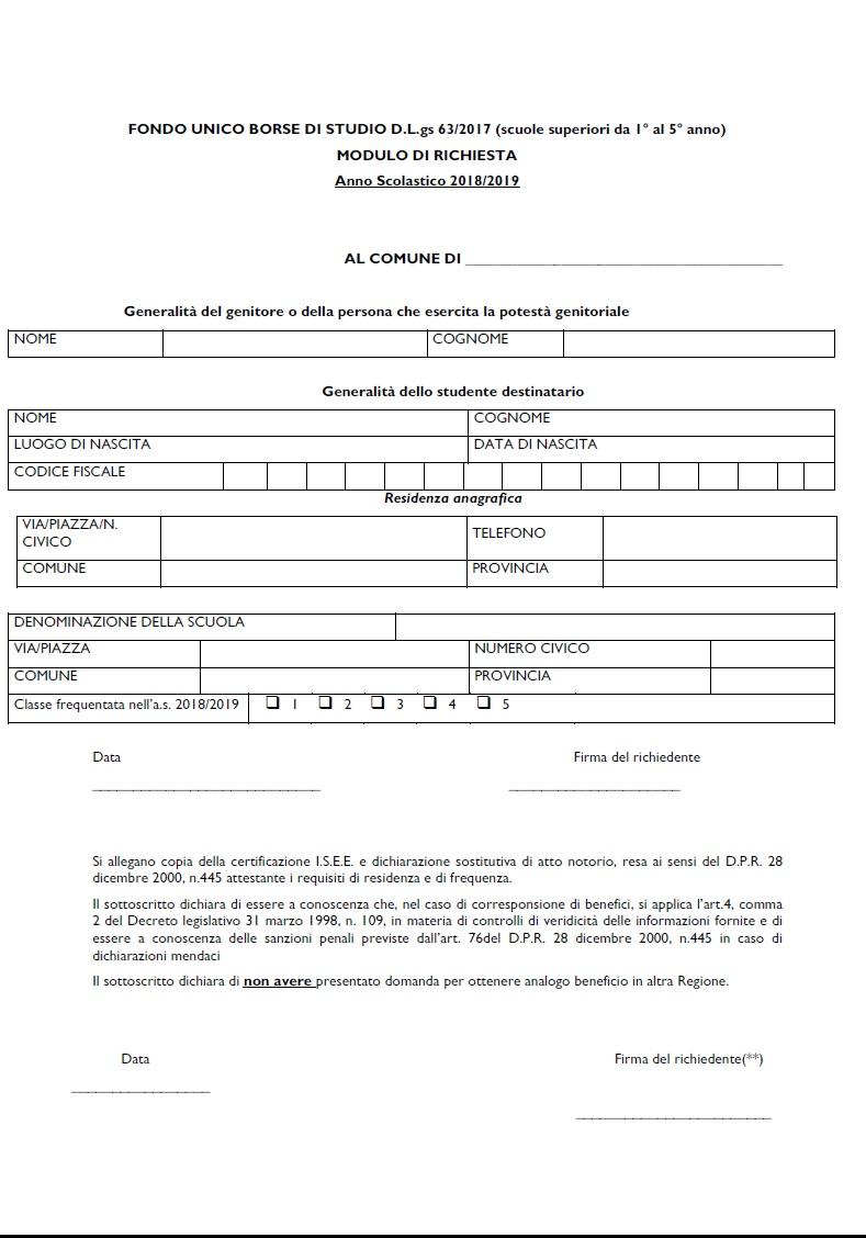 FONDO UNICO BORSE DI STUDIO D.L.gs 63/2017 (scuole superiori da 1° al 5° anno) -  Anno Scolastico 2018/2019