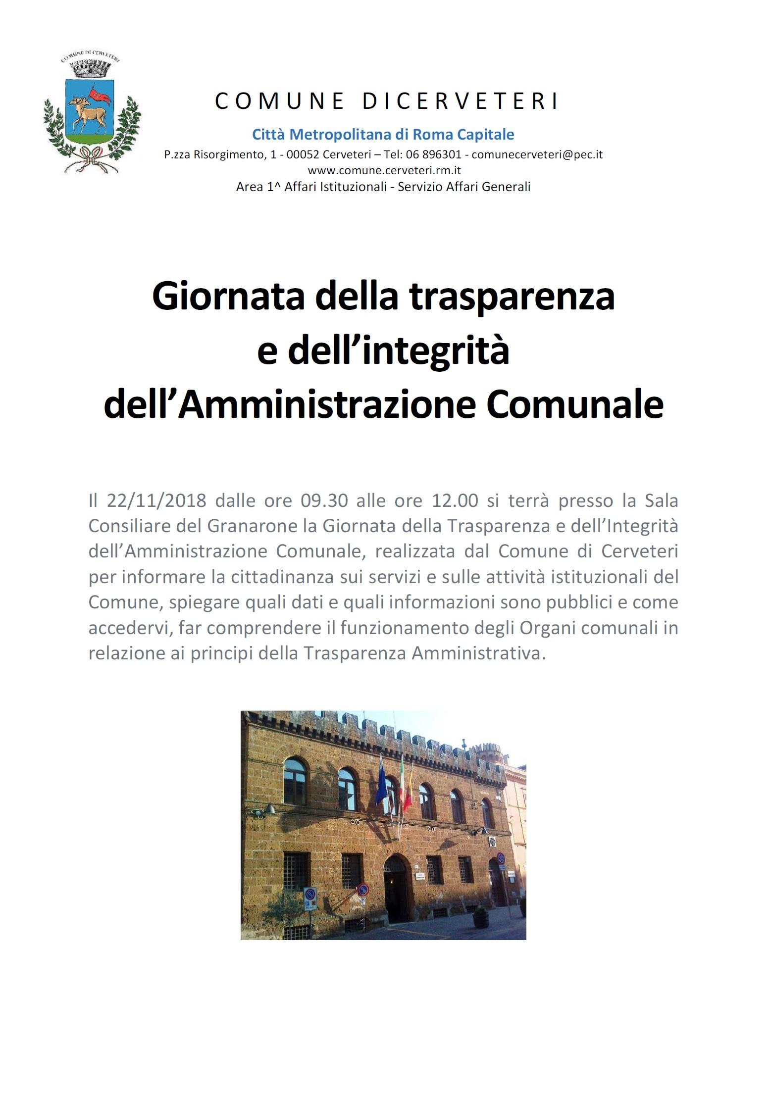 Giornata della Trasparenza e dell' Integrità dell' Amministrazione Comunale